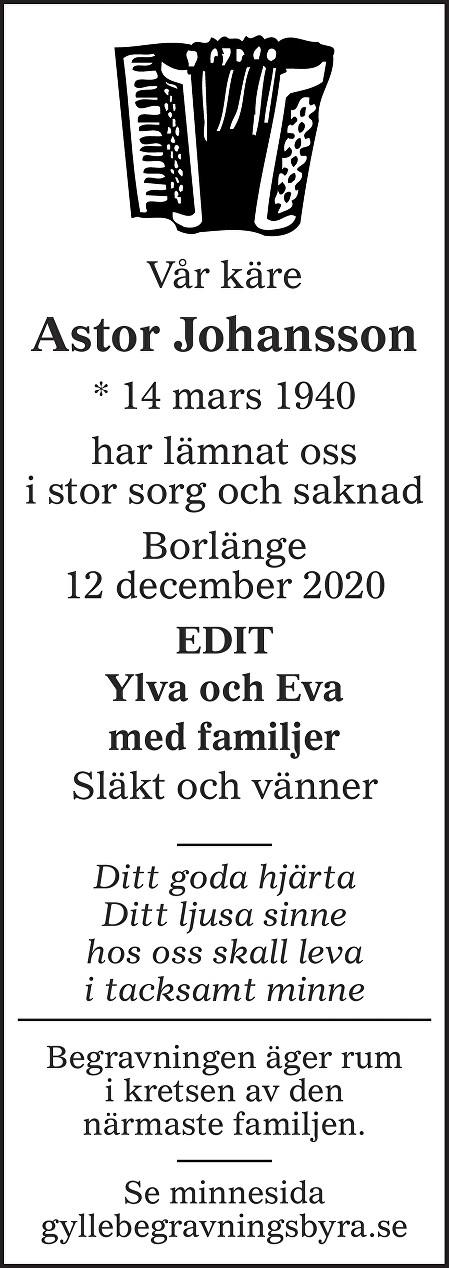 Astor Johansson Death notice