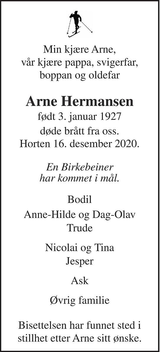 Arne Hermansen Dødsannonse