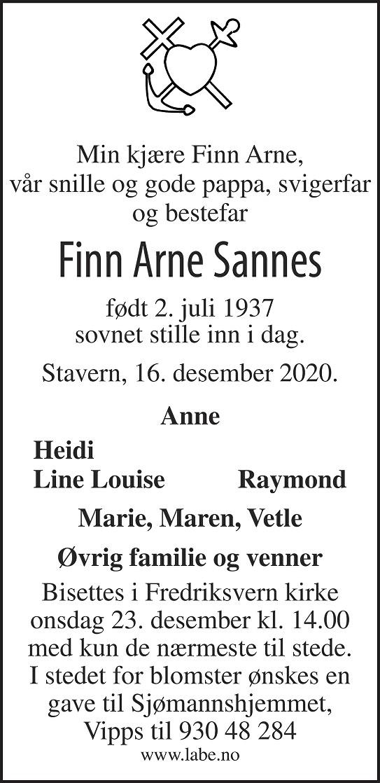 Finn Arne Sannes Dødsannonse