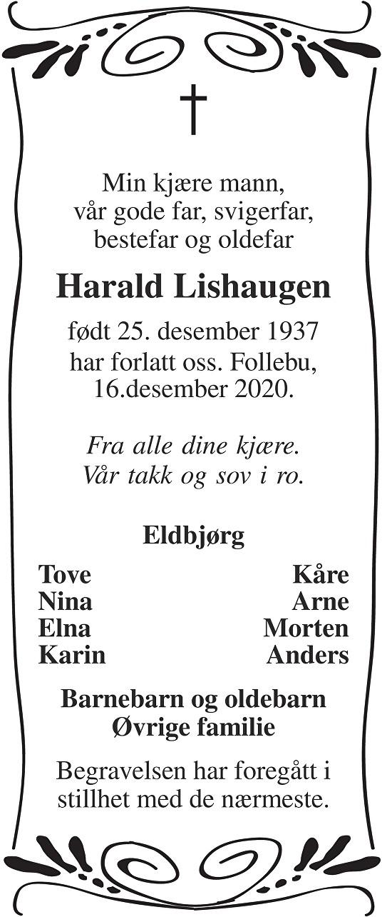 Harald Lishaugen Dødsannonse
