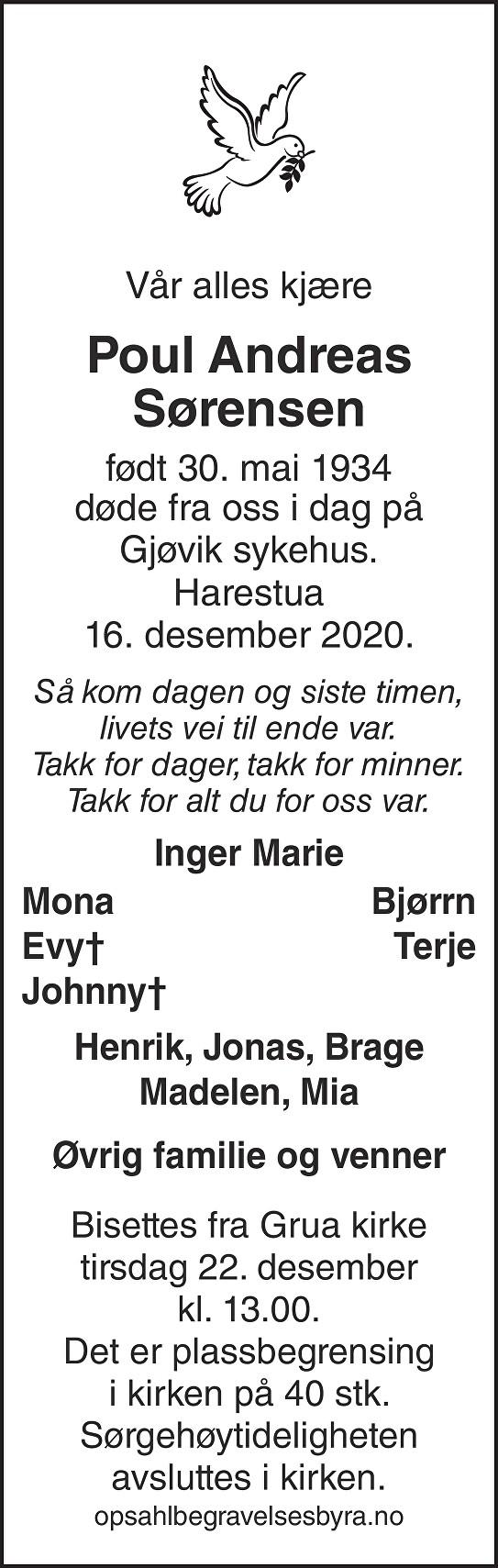 Poul Andreas Sørensen Dødsannonse