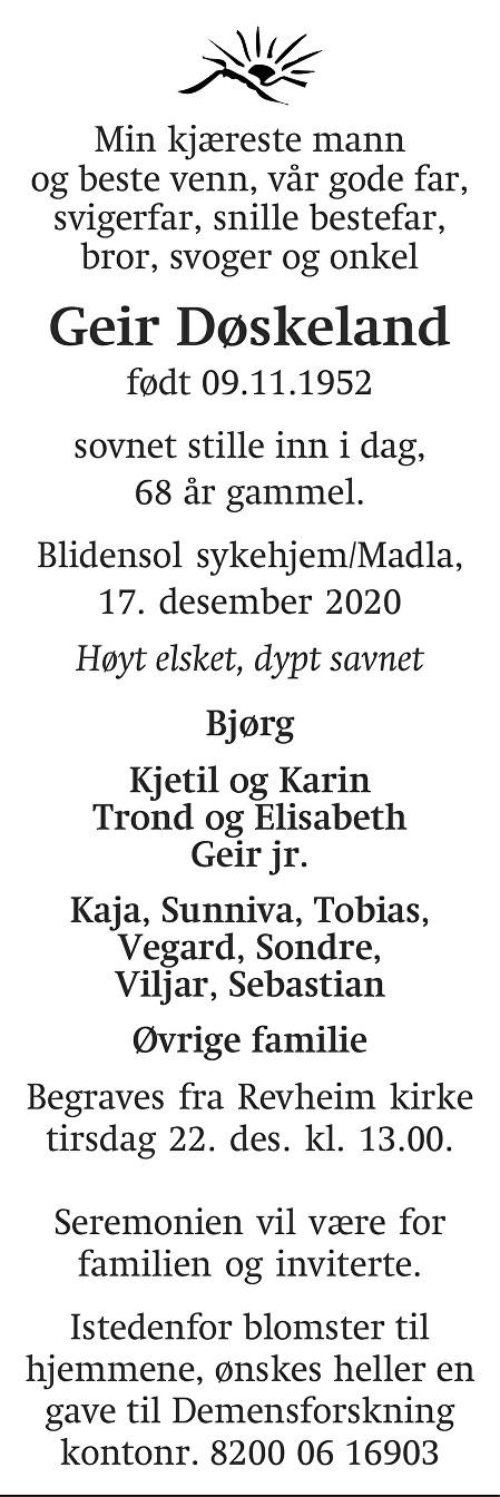 Geir Døskeland Dødsannonse