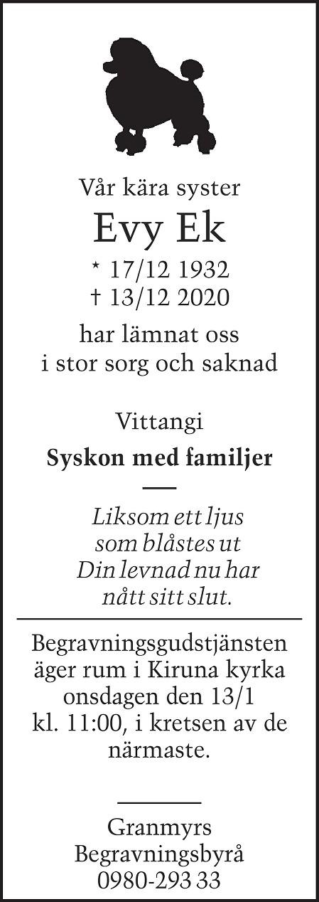 Evy  Ek Death notice