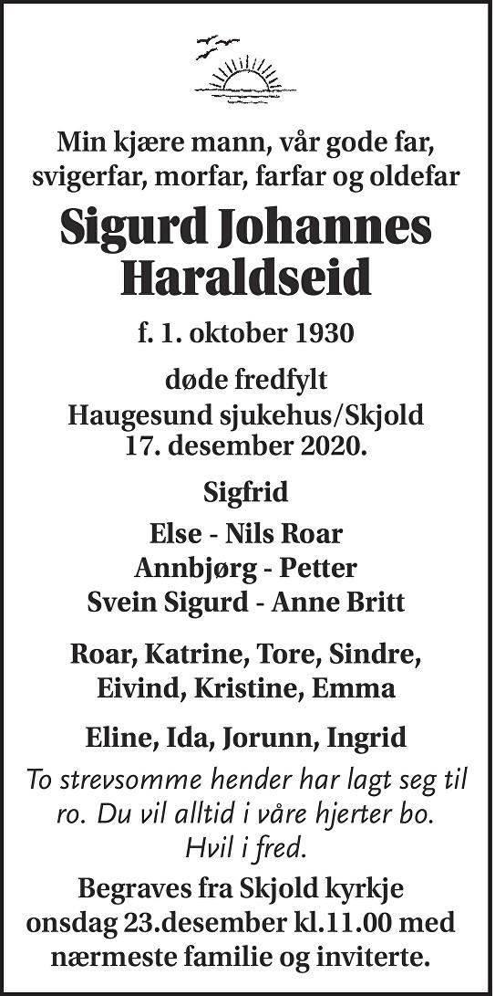 Sigurd Johannes Haraldseid Dødsannonse