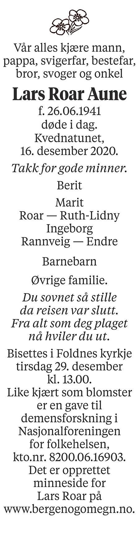 Lars Roar Aune Dødsannonse