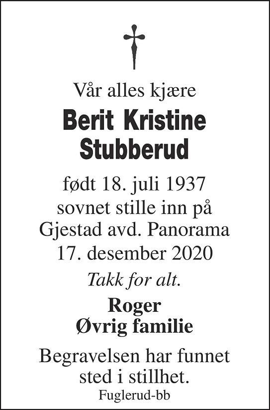 Berit Kristine Stubberud Dødsannonse