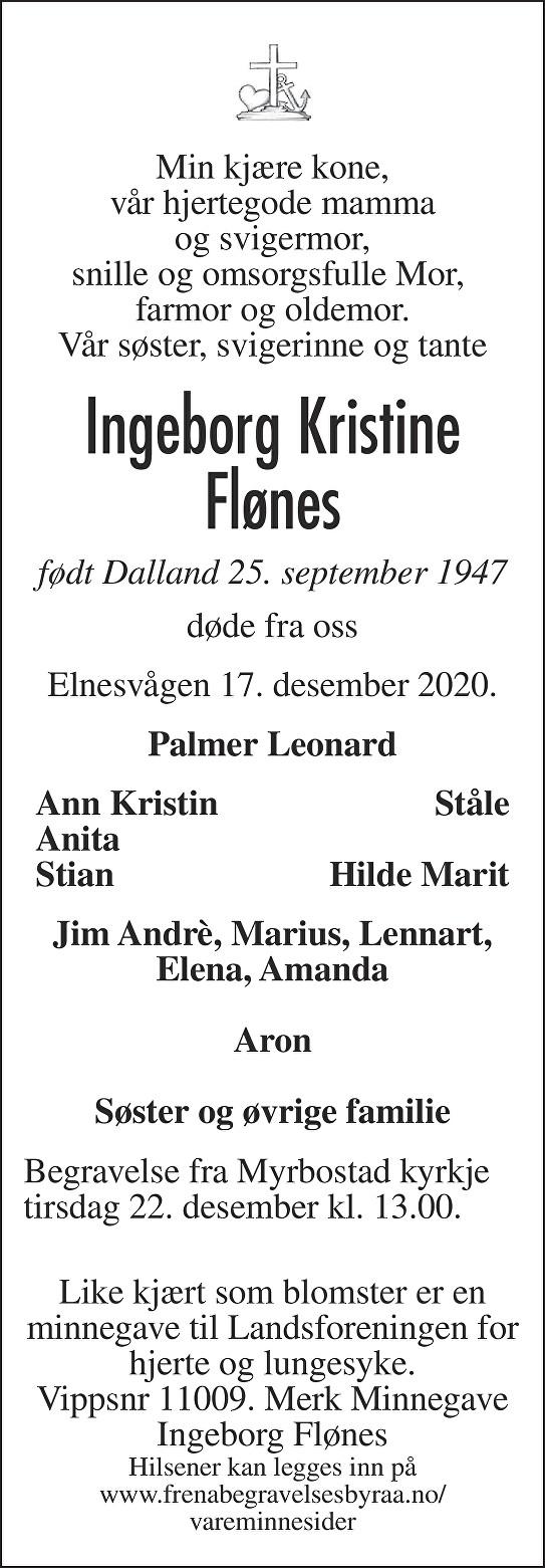 Ingeborg Kristine Flønes Dødsannonse