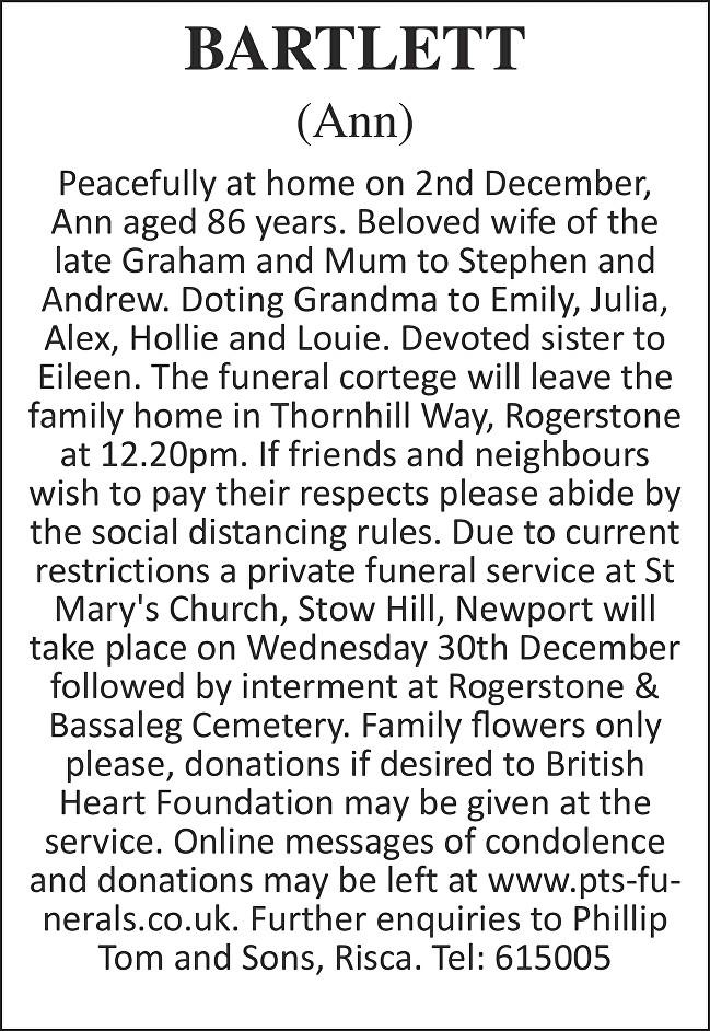 Ann Bartlett Death notice