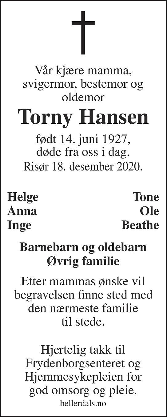 Torny  Hansen  Dødsannonse