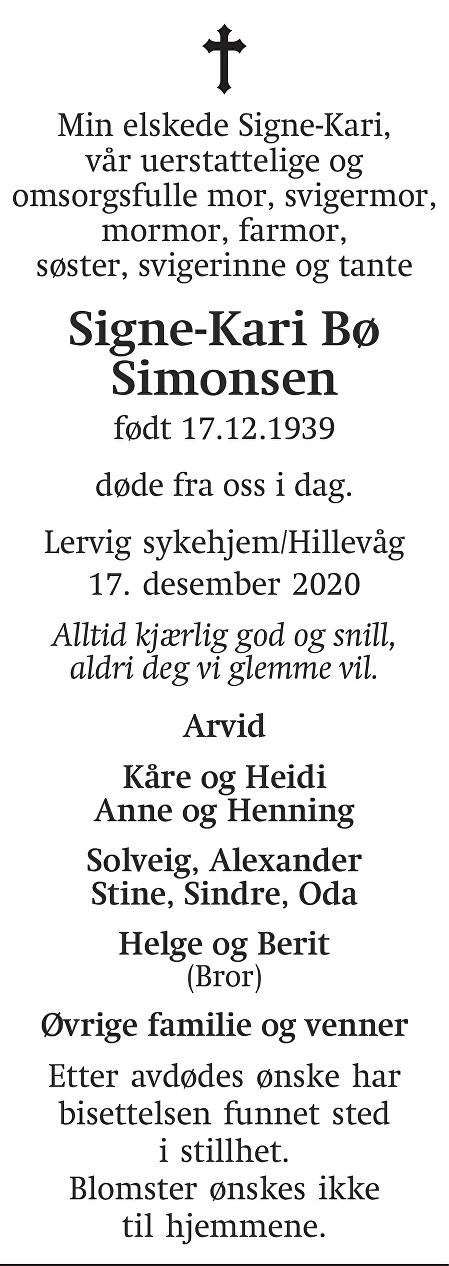 Signe-Kari Bø Simonsen Dødsannonse