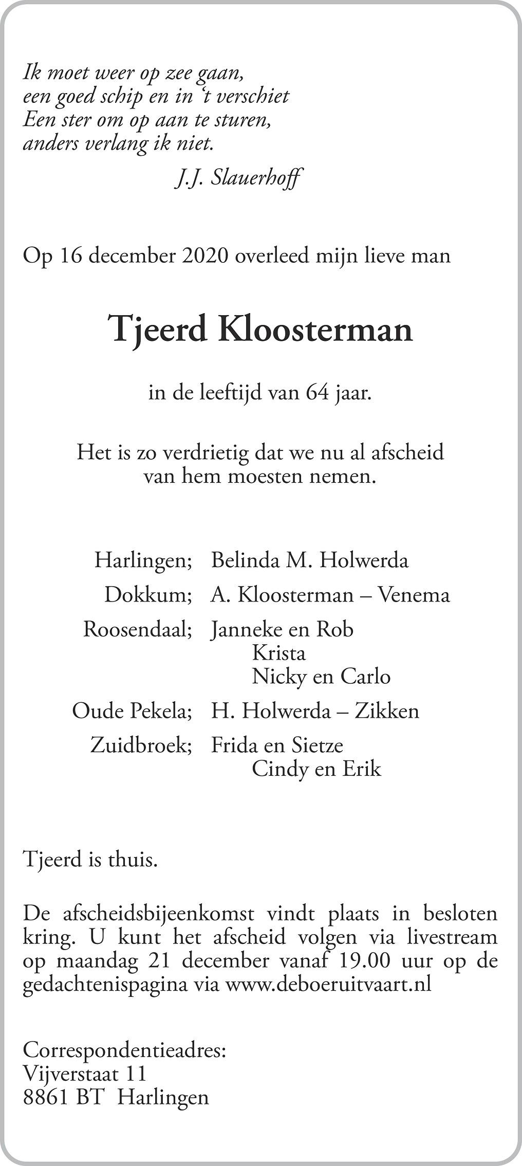 Tjeerd Kloosterman Death notice