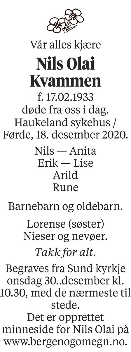 Nils Olai Kvammen Dødsannonse