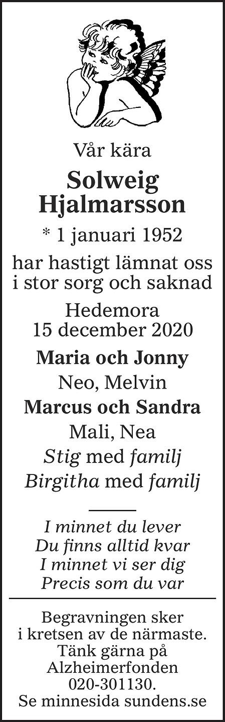 Solweig Hjalmarsson Death notice