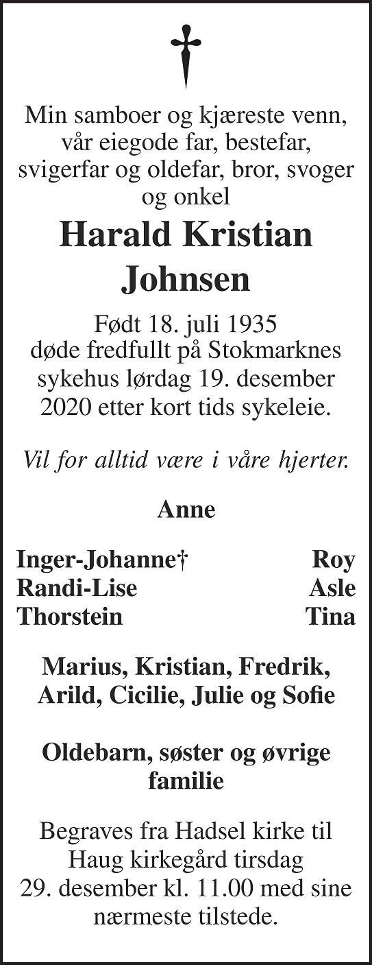 Harald Johnsen Dødsannonse