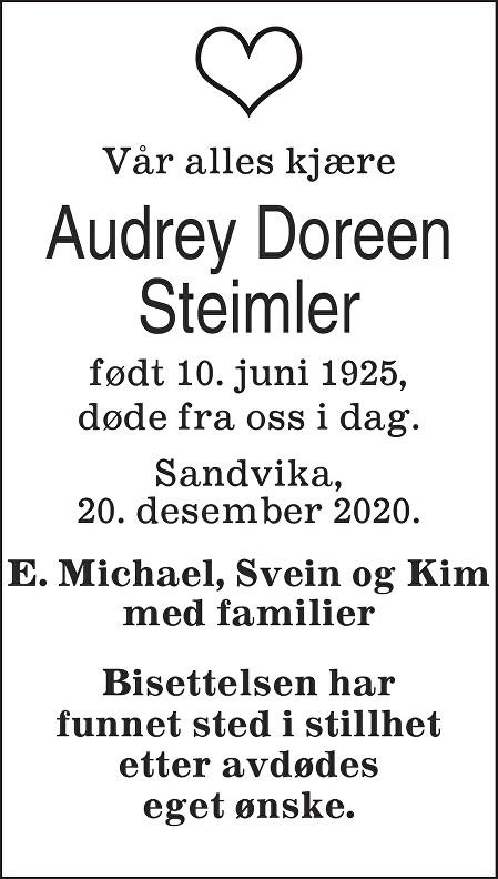Audrey Doreen Steimler Dødsannonse