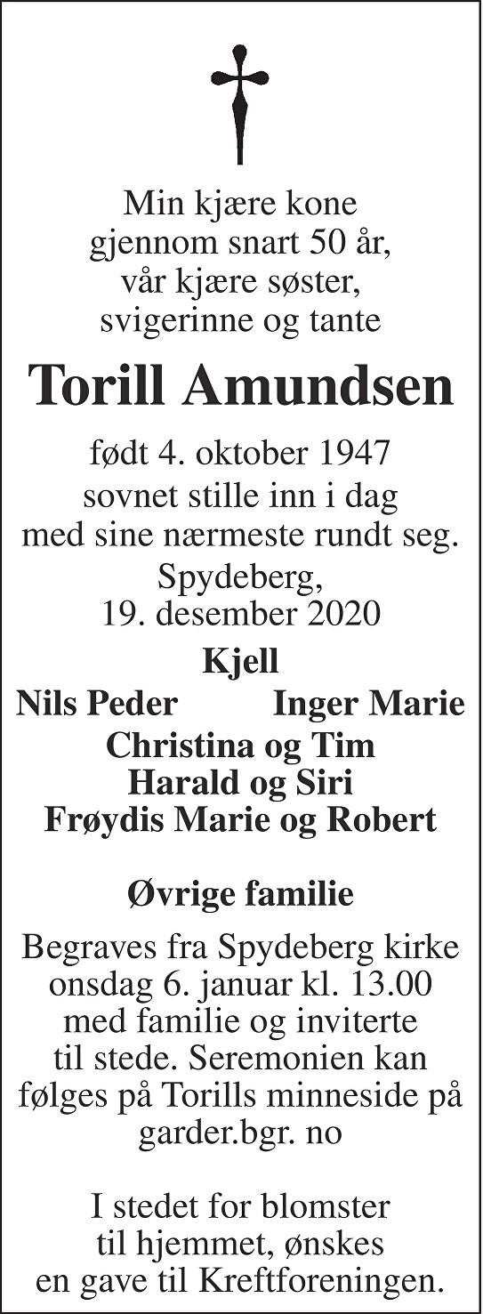 Torill Pauline Amundsen Dødsannonse