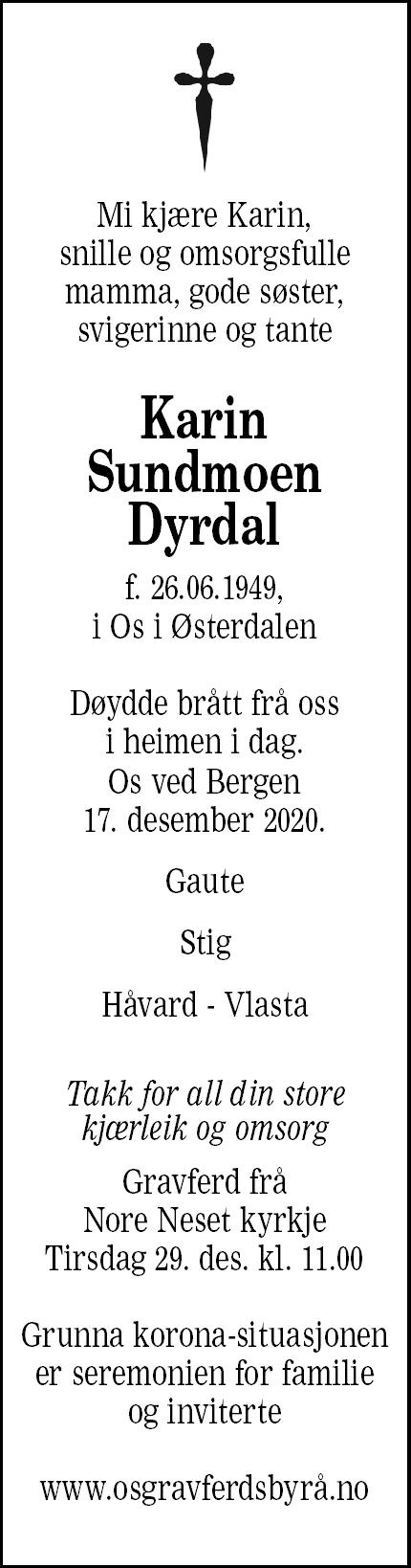 Karin  Sundmoen Dyrdal Dødsannonse