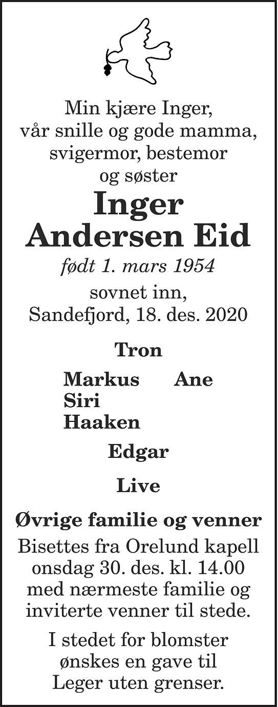 Inger Andersen Eid Dødsannonse