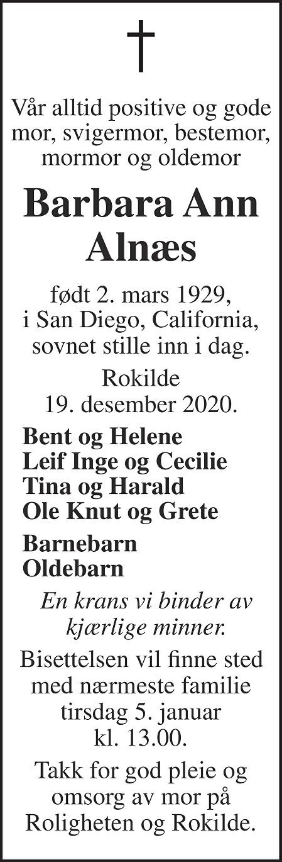 Barbara Ann Alnæs Dødsannonse