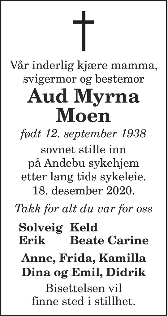 Aud Myrna Moen Dødsannonse