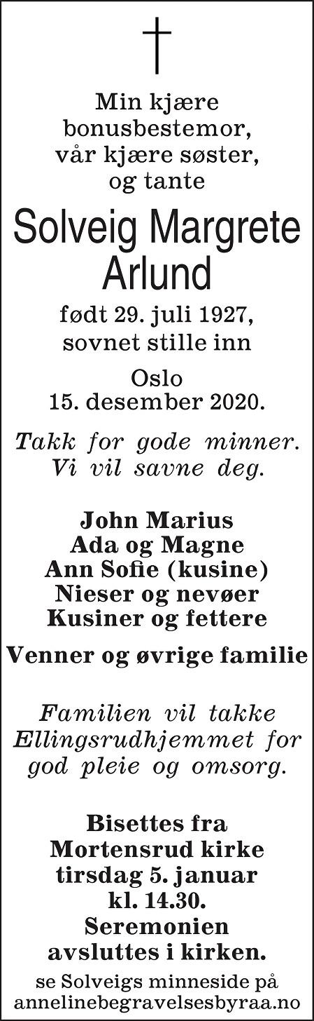 Solveig Margrete Arlund Dødsannonse