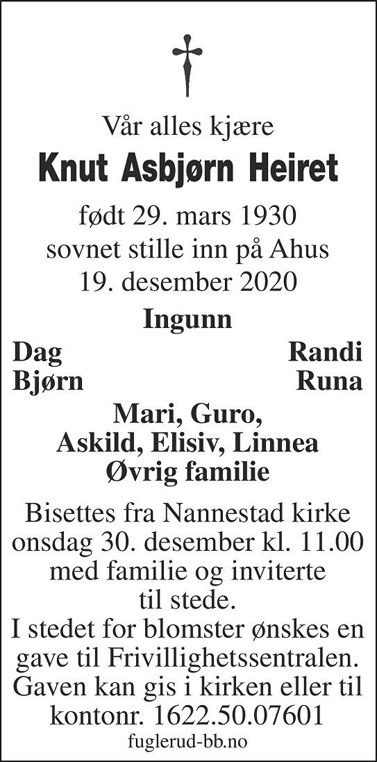 Knut Asbjørn Heiret Dødsannonse