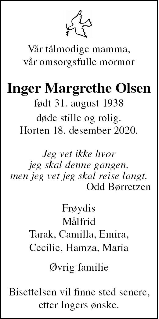Inger Margrethe Olsen Dødsannonse