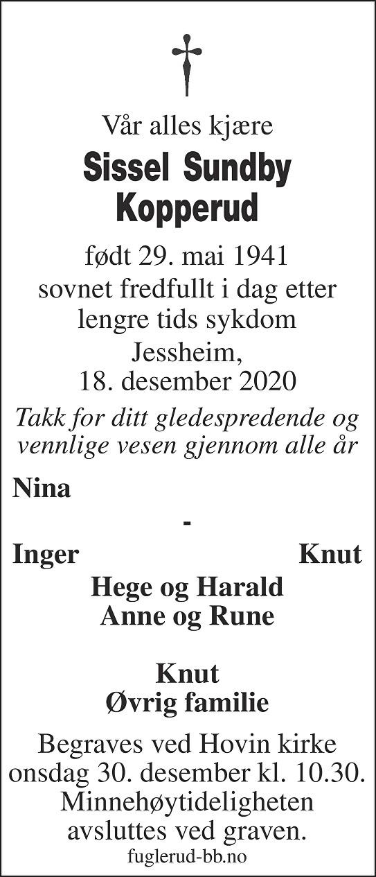 Sissel Sundby Kopperud Dødsannonse
