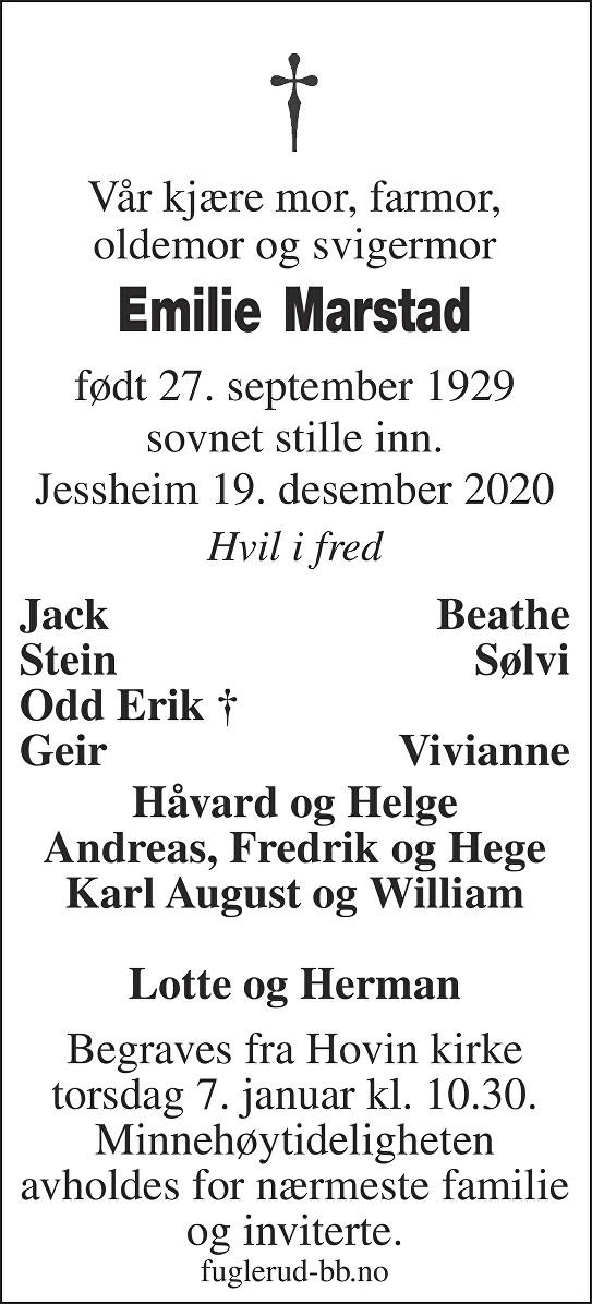 Emilie Marstad Dødsannonse