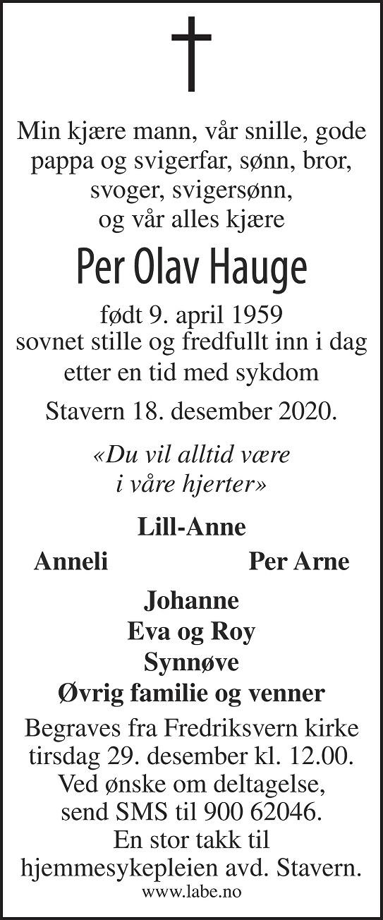 Per Olav Hauge Dødsannonse