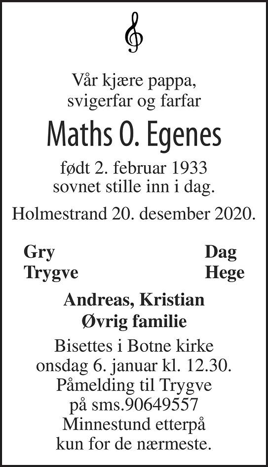Mathias Oluf Egenes Dødsannonse