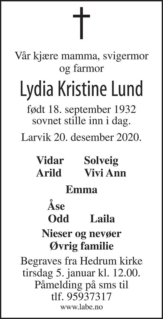 Lydia Kristine Lund Dødsannonse