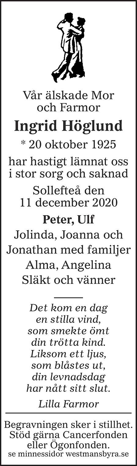 Ingrid Höglund Death notice