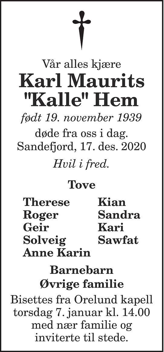 """Karl Maurits """"Kalle"""" Hem Dødsannonse"""