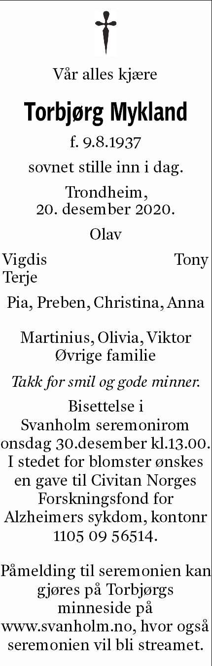 Torbjørg Petrine Mykland Dødsannonse