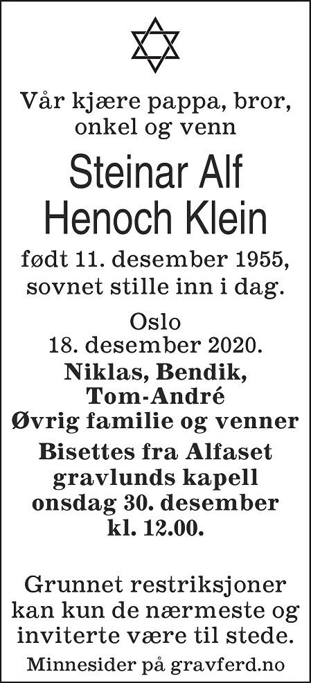 Steinar Alf Henoch Klein Dødsannonse