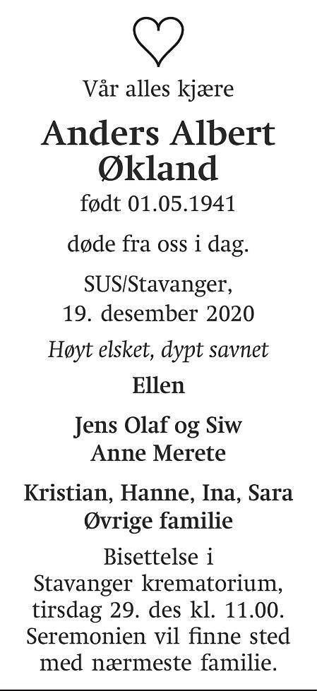 Anders Albert Økland Dødsannonse