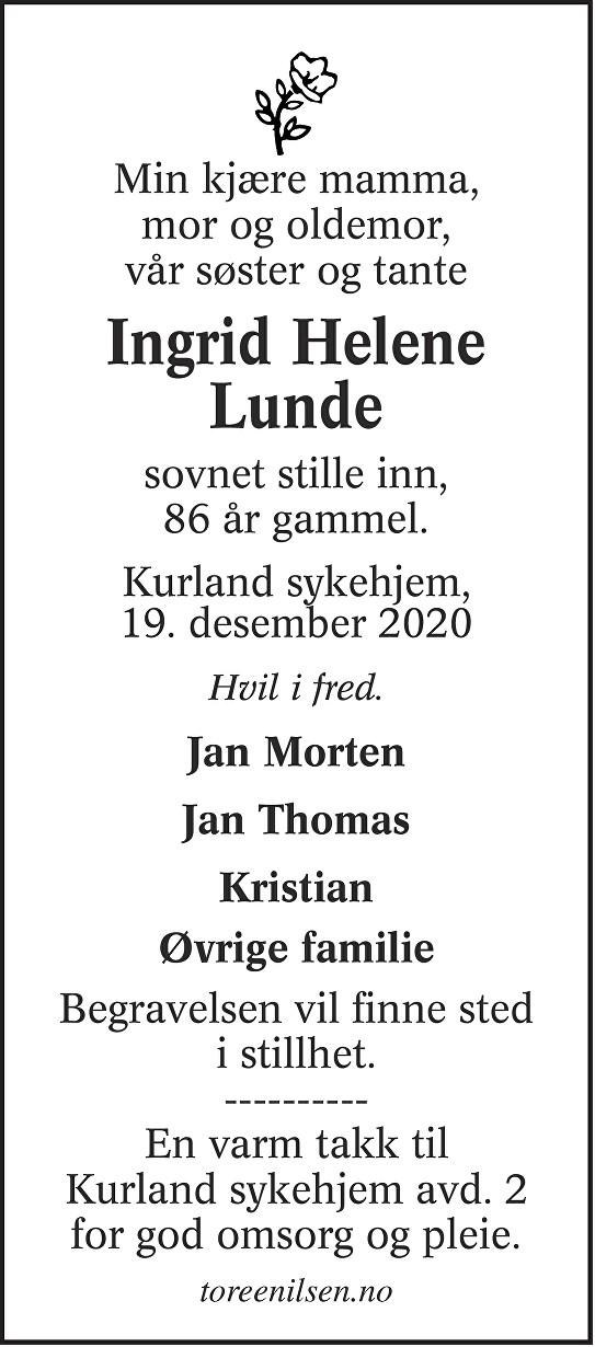Ingrid Helene Lunde Dødsannonse