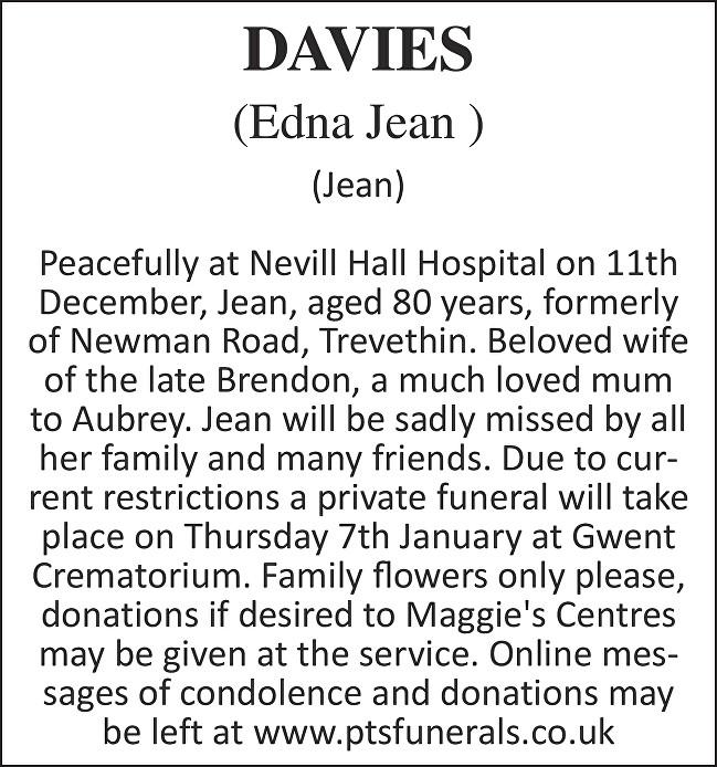 Edna Jean  Davies  Death notice