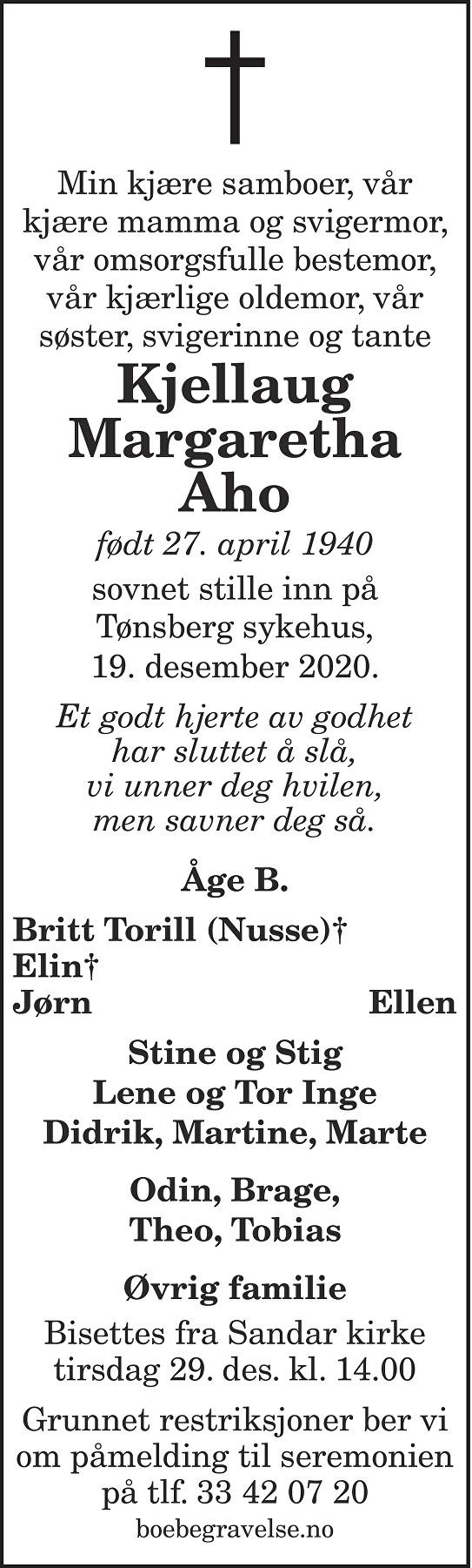 Kjellaug Margaretha Aho Dødsannonse