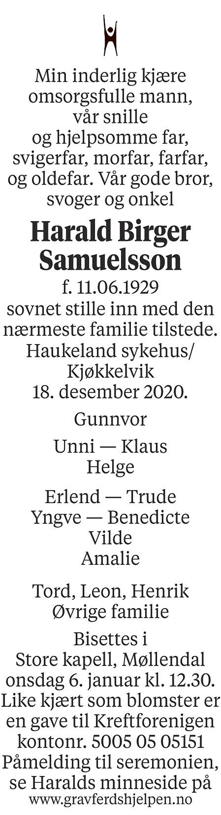 Harald Birger Samuelsson Dødsannonse