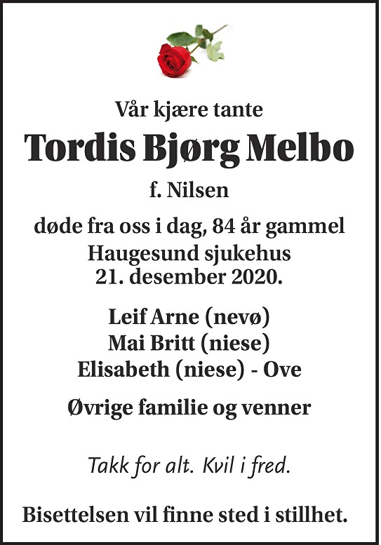Tordis Bjørg Melbo Dødsannonse