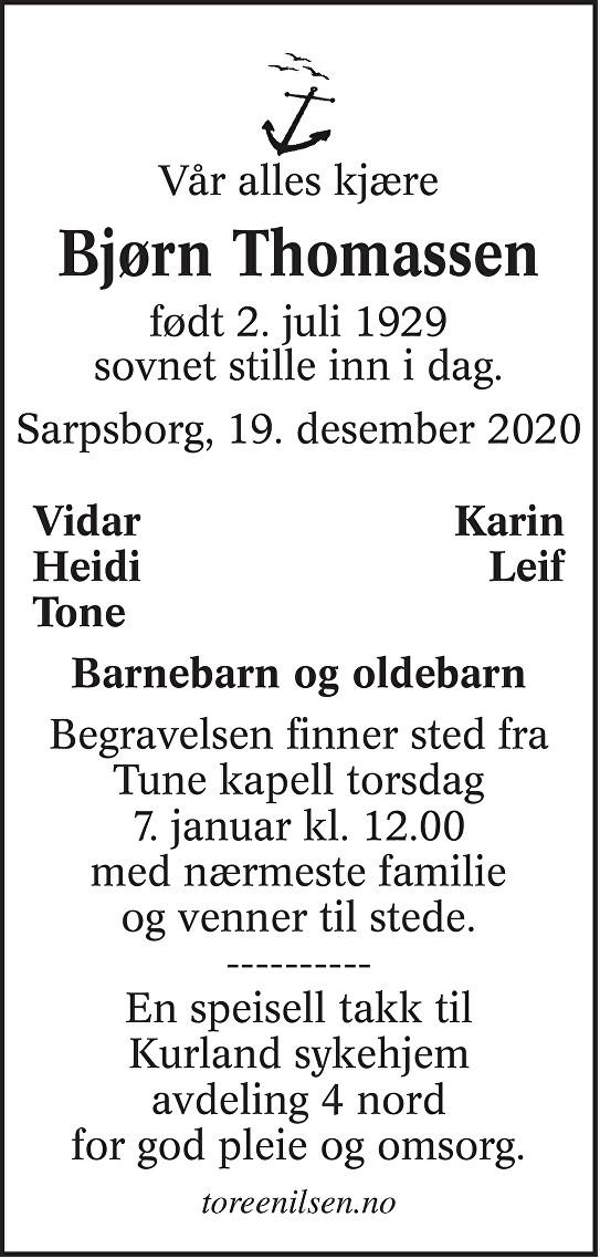 Bjørn Thomassen Dødsannonse