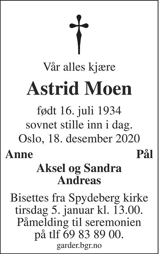 Astrid Mariane Moen Dødsannonse