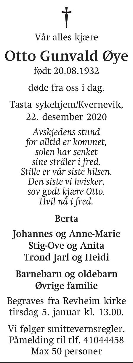 Otto Gunvald Øye Dødsannonse