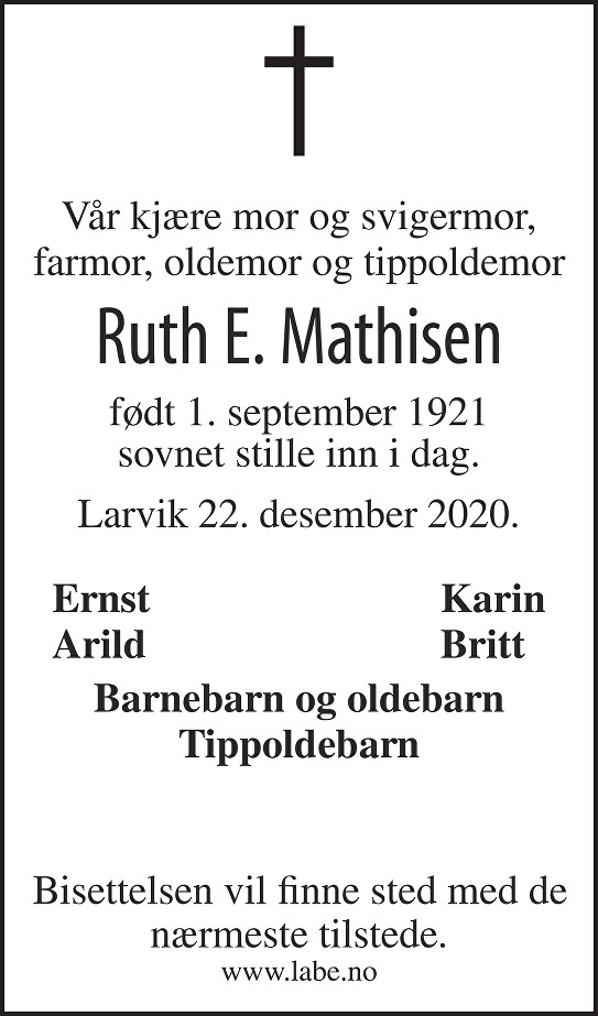 Ruth Ellinor Mathisen Dødsannonse
