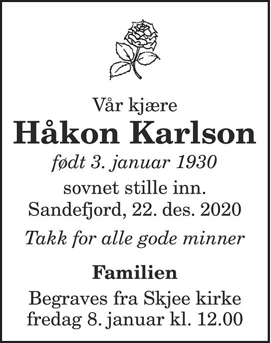 Håkon Karlson Dødsannonse