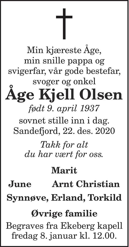 Åge Kjell Olsen Dødsannonse