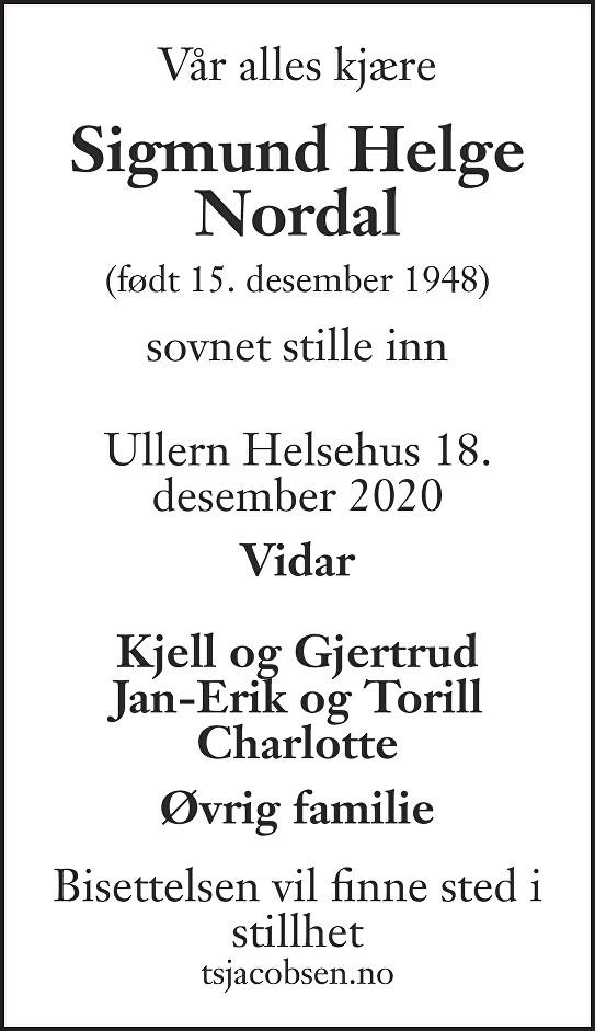 Sigmund Helge Nordal Dødsannonse