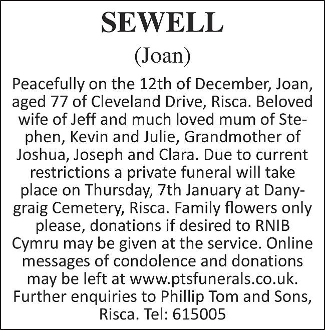 Joan Sewell Death notice